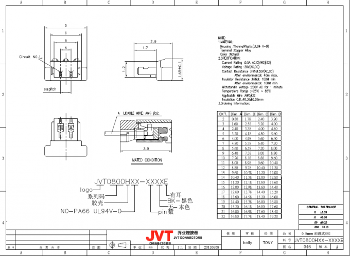 JVT 0.8mm Pitch Cimp Style Disconnectable Insulation Displacement IDC  Socket Connector